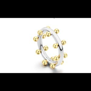 Jewelry - Double Row Ball Rings Gold Midi Ring